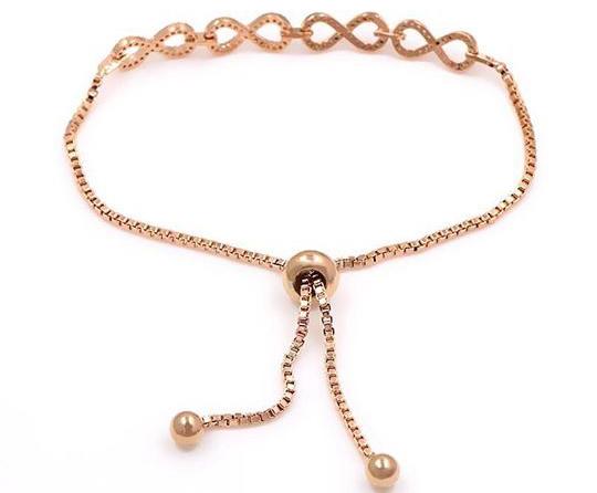 Rose Gold Infinity Crystal Charm Bracelet