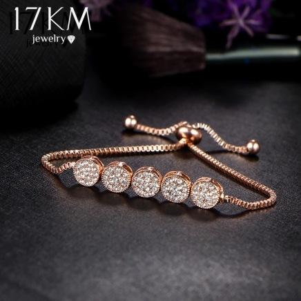 Round Crystal Charm Bracelet